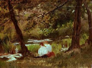 Mary Stevenson Cassatt - Two Women Seated by a Woodland Stream