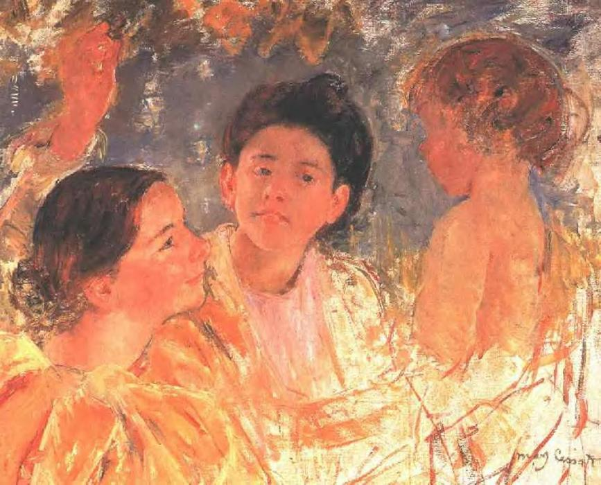 famous painting Two Young Girls with a Child of Mary Stevenson Cassatt