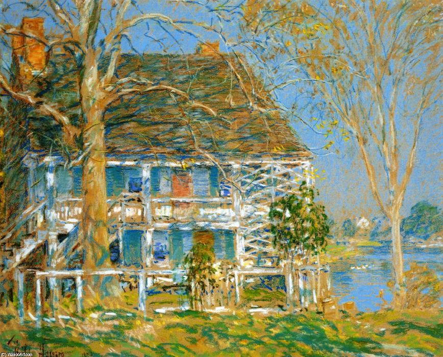 famous painting Unknown (also known as The Old Brush House) of Frederick Childe Hassam
