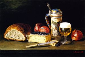 Joseph Kleitsch - Untitled Still Life (also known as Cheese, Onions, Bread and Tankard)
