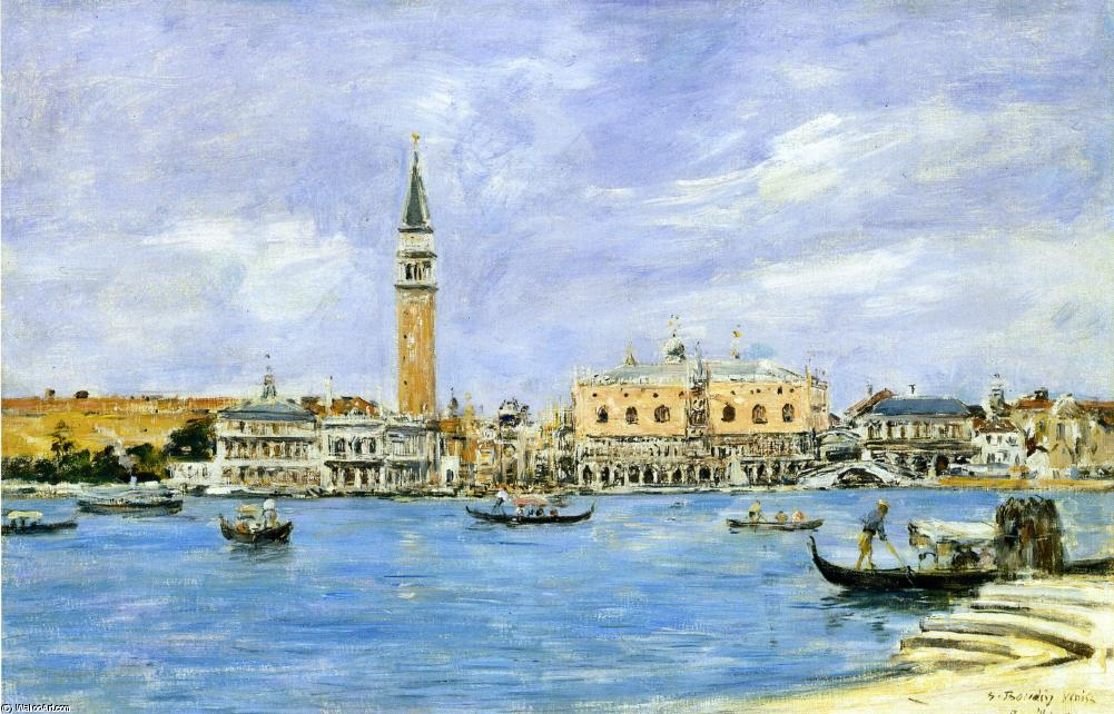 famous painting Venice, the Campanile, the Ducal Palace and the Piazzetta, View from San Giorgio of Eugène Louis Boudin