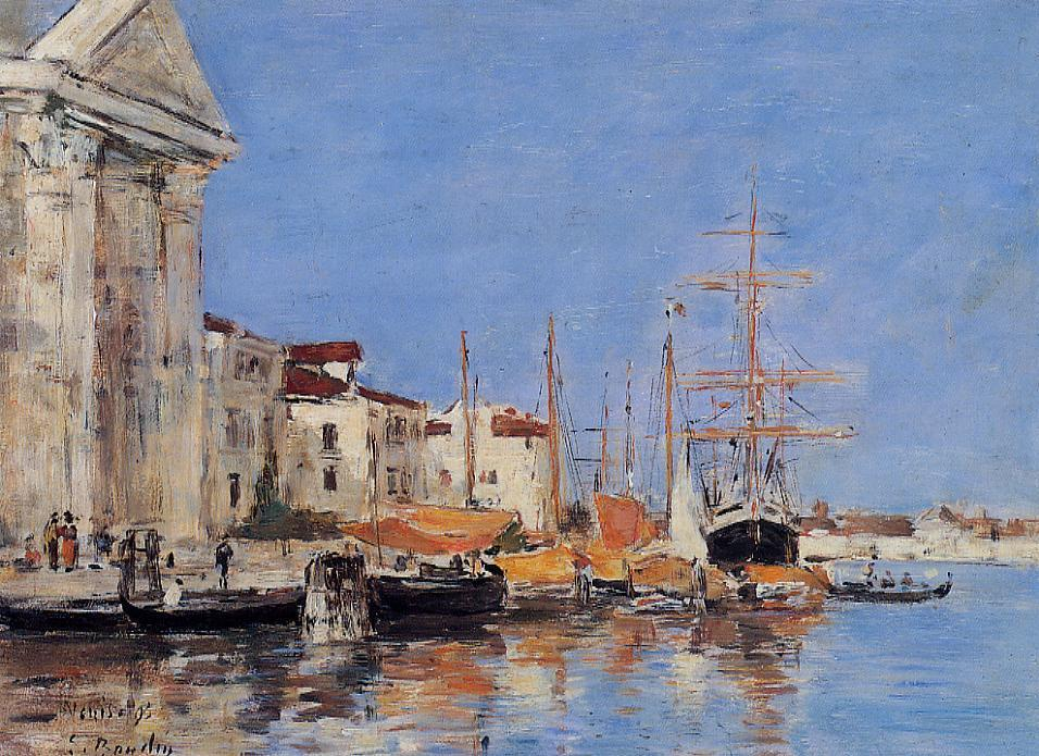 famous painting Venice, the Customs House of Eugène Louis Boudin