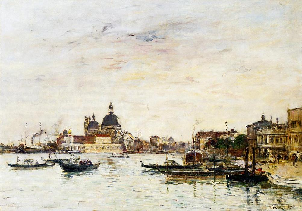 famous painting Venice, the Mole at the Entrance of the Grand Canal and the Salute of Eugène Louis Boudin