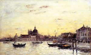 Eugène Louis Boudin - Venice, The Mole at the Entrance to the Grand Canal and the Salute