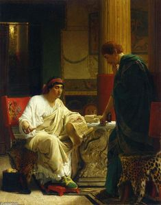 Lawrence Alma-Tadema - Vespasian Hearing from One of His Generals of the Taking of Jerusalem by Titus (also known as The Dispatch)