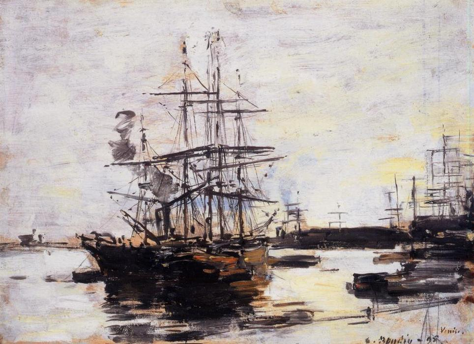 famous painting Vessel at Anchor outside of Venice of Eugène Louis Boudin