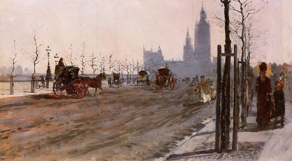 famous painting The Victoria Embankment, London of Giuseppe De Nittis