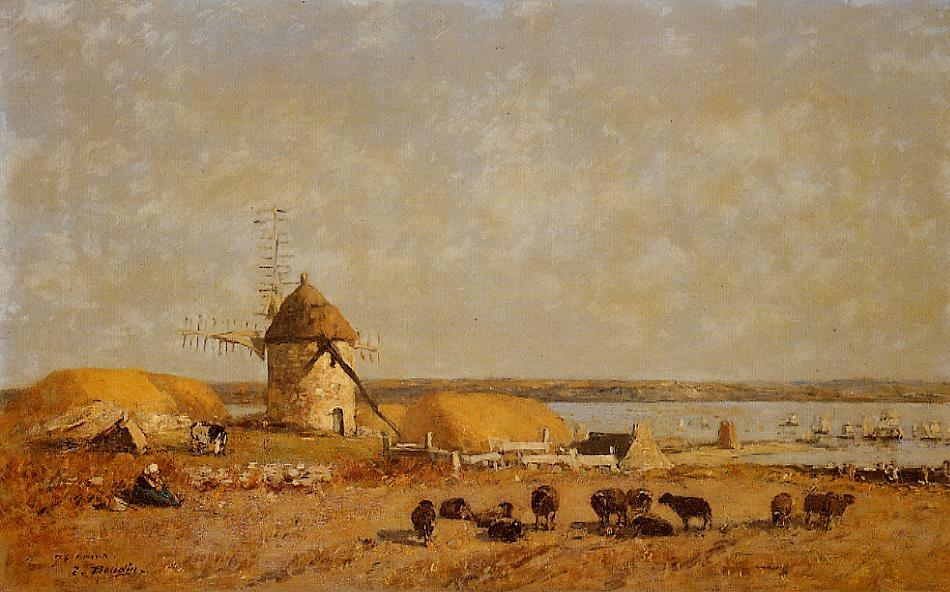 famous painting View from the Camaret Heights of Eugène Louis Boudin