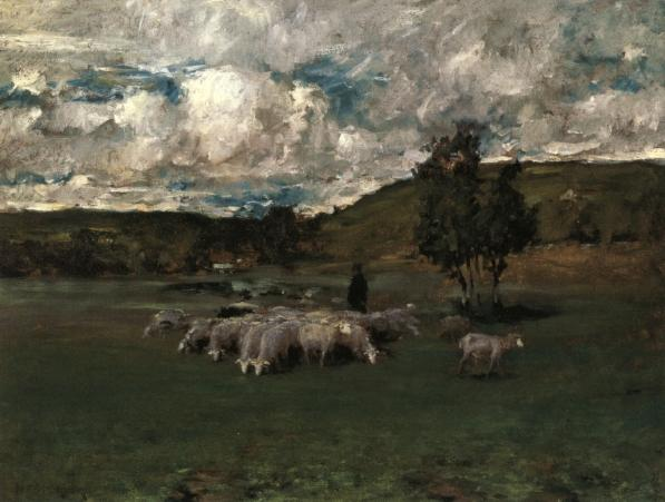famous painting View near Polling (also known as Landscape with Sheep) of William Merritt Chase