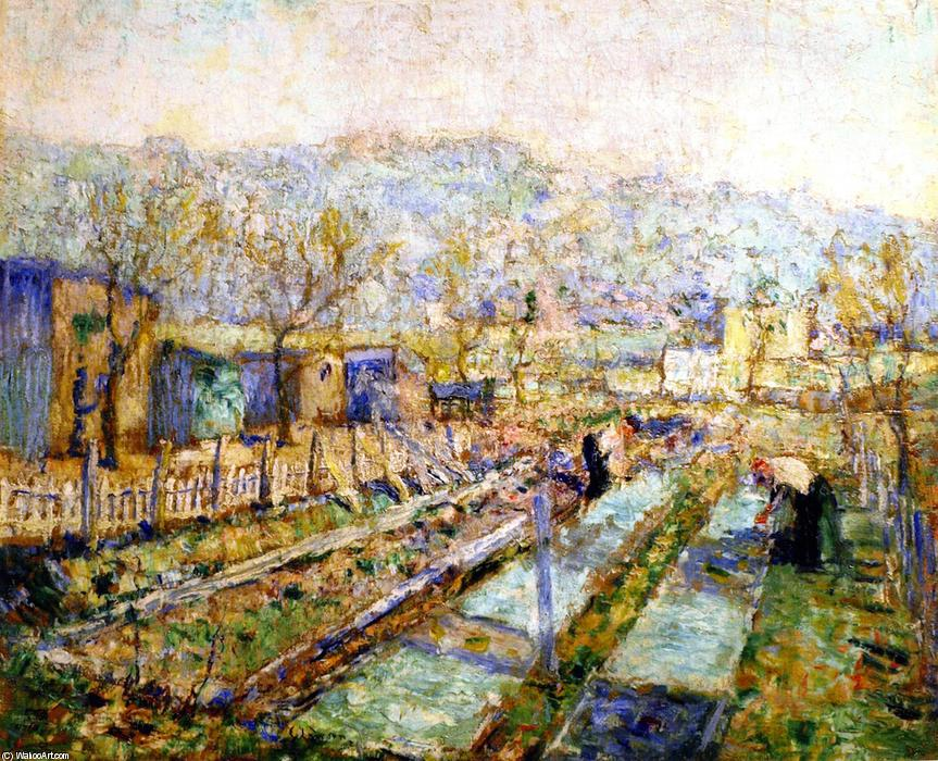famous painting View of a Garden in a Paris Suburb of Ernest Lawson