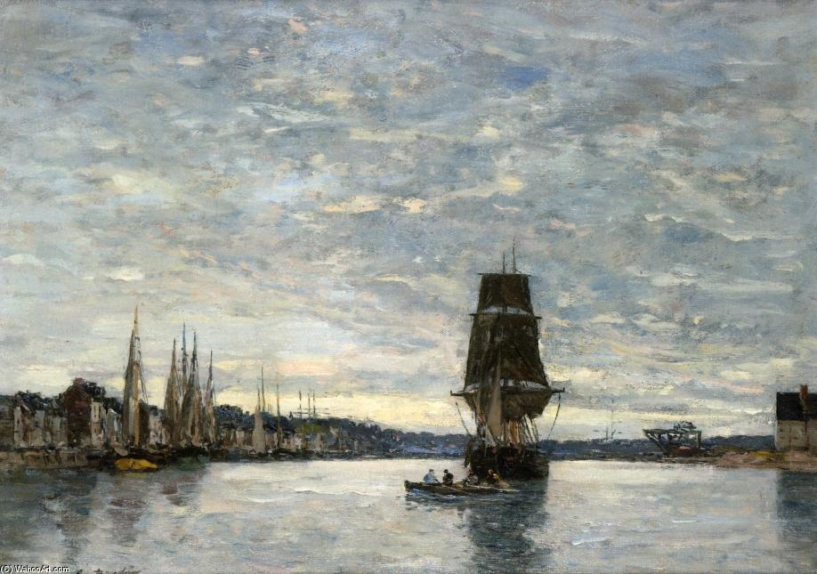 famous painting View of the Harbor at Trouville of Eugène Louis Boudin