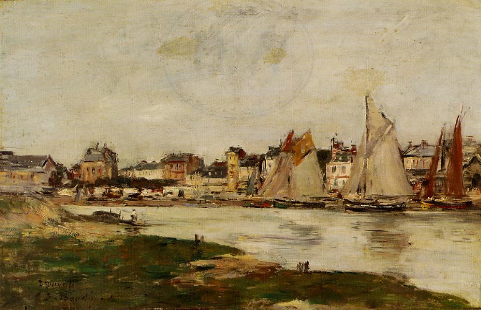 famous painting View of the Port of Trouville, High Tide of Eugène Louis Boudin