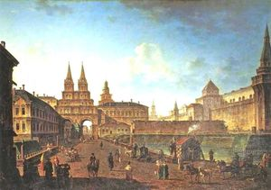 Fedor Yakovlevich Alekseev - View of the Voskresenskie and Nikolskie Gate and Neglinniy Brige from Tverskaia Street in Moscow