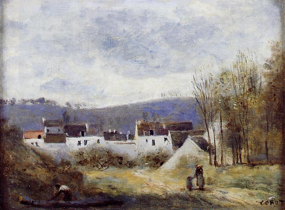 famous painting Village at the Foot of a Hill, Ile-de-France of Jean Baptiste Camille Corot