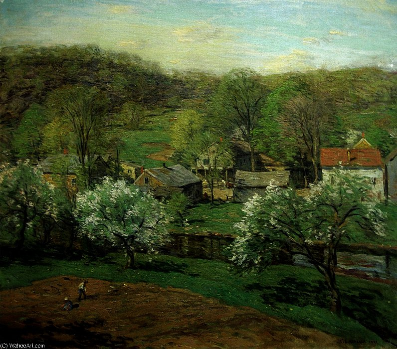 famous painting The Village in Late Spring of Willard Leroy Metcalf