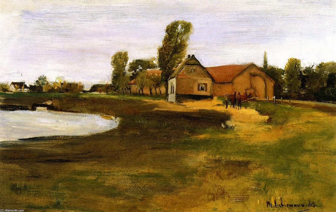 famous painting Village Street in MIlitsh - Landscape with Pond of Max Liebermann