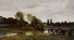 Jean Baptiste Camille Corot - Ville d'Avray - The Horses Watering Place