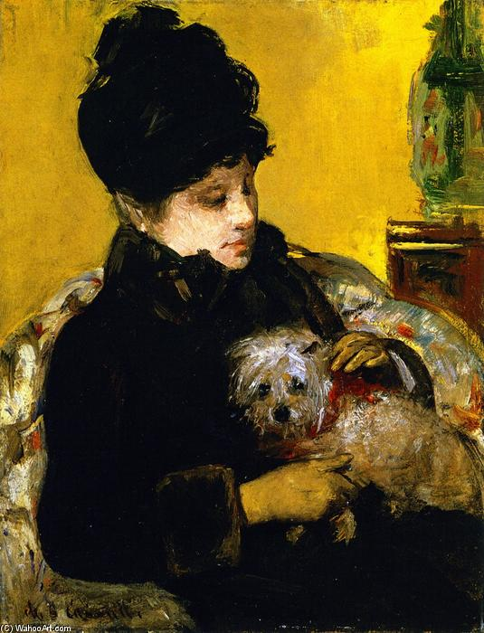 famous painting A Visitor in Hat and Coat Holding a Maltese Dog of Mary Stevenson Cassatt