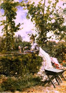 Giovanni Boldini - Waiting (also known as Berthe in the Countryside)