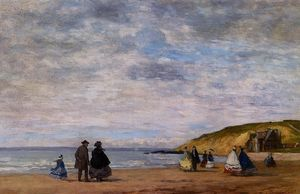 Eugène Louis Boudin - A Walk on the Beach