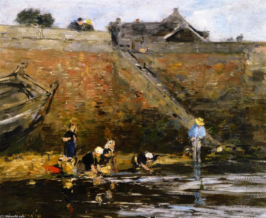famous painting Washerwomen by a River of Eugène Louis Boudin