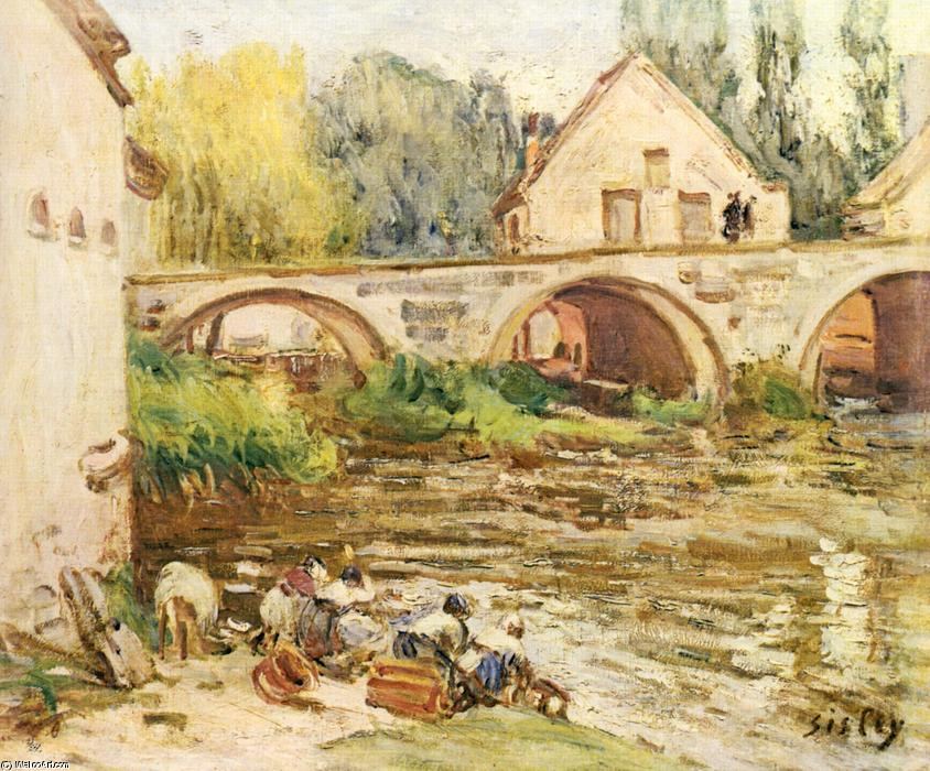 famous painting The Washerwomen of Moret of Alfred Sisley