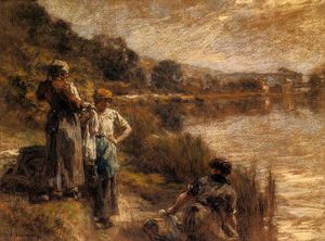 Léon Augustin L'hermitte - Washerwomen on the Banks of the Marne