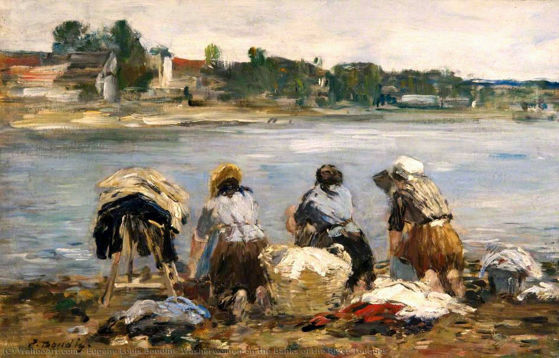 famous painting Washerwomen on the Banks of the River Touques of Eugène Louis Boudin