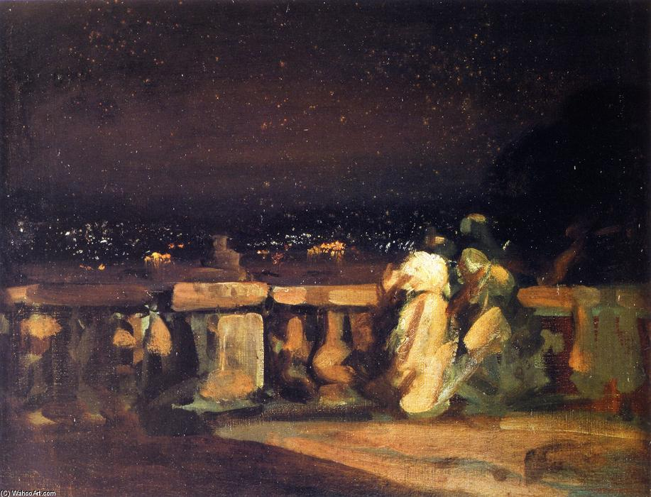 famous painting Watching the Fireworks, St. Cloud (also known as On the Terrace) of Charles Edward Conder