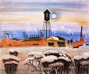 Charles Ephraim Burchfield - Watertower and Queen Ann's Lace