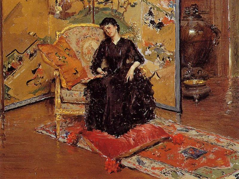 famous painting Weary (also known as Who Rang?) of William Merritt Chase