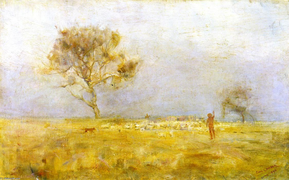 famous painting While Daylight Lingers (also known as The Evening Star or Yarding Sheep) of Charles Edward Conder