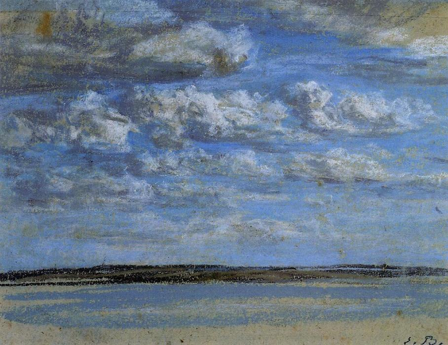 famous painting White Clouds, Blue Sky of Eugène Louis Boudin