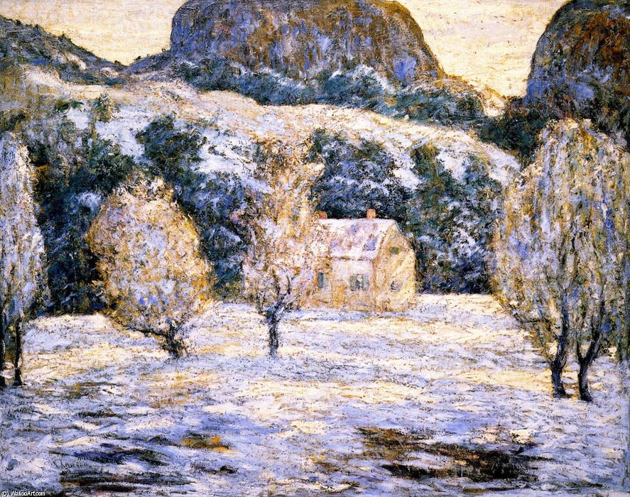 famous painting Winter Landscape (also known as Trees in nBlossom) of Ernest Lawson