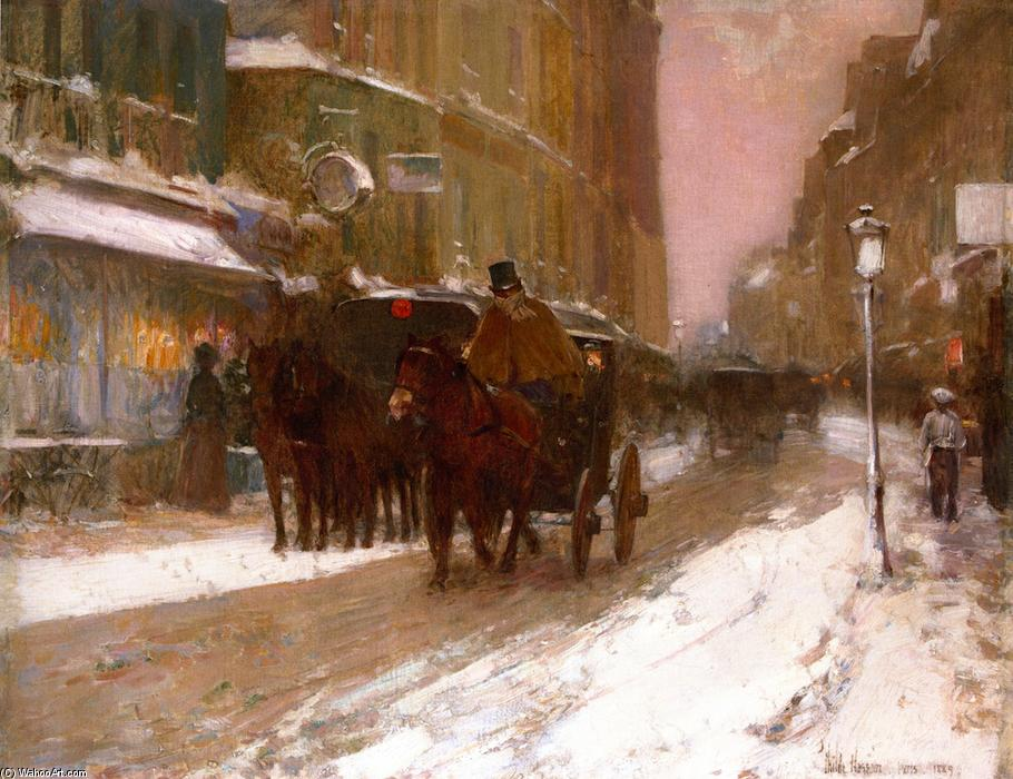 famous painting Winter Nightfall in the City of Frederick Childe Hassam