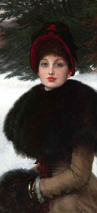 famous painting A Winter's Walk (also known as Kathleen Newton in snow scene) of James Jacques Joseph Tissot
