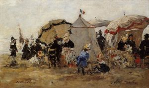 Eugène Louis Boudin - Woman and Children on the Beach at Trouville