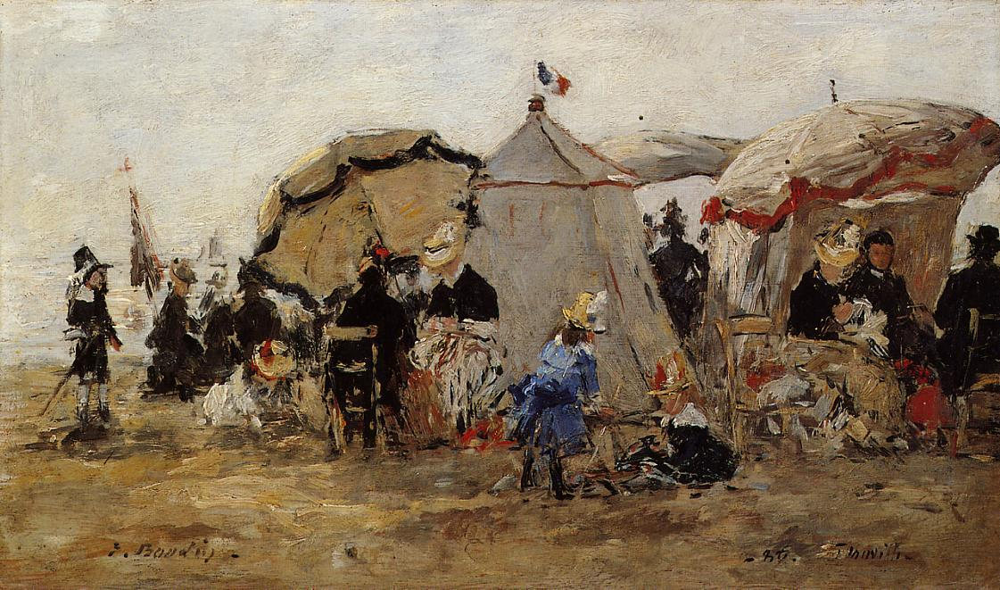 famous painting Woman and Children on the Beach at Trouville of Eugène Louis Boudin