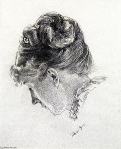 Marie Bracqemond - Woman's Head from the Right