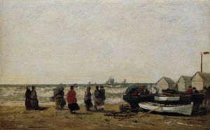 Eugène Louis Boudin - Women on the Beach, Rough Seas