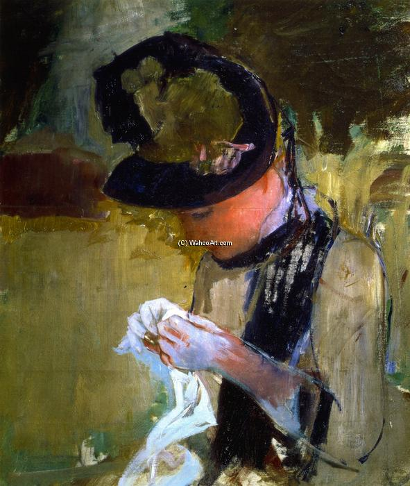 famous painting Woman in Black and Green Bonnet, Sewing of Mary Stevenson Cassatt