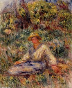 Pierre-Auguste Renoir - Woman in Blue in a Landscape