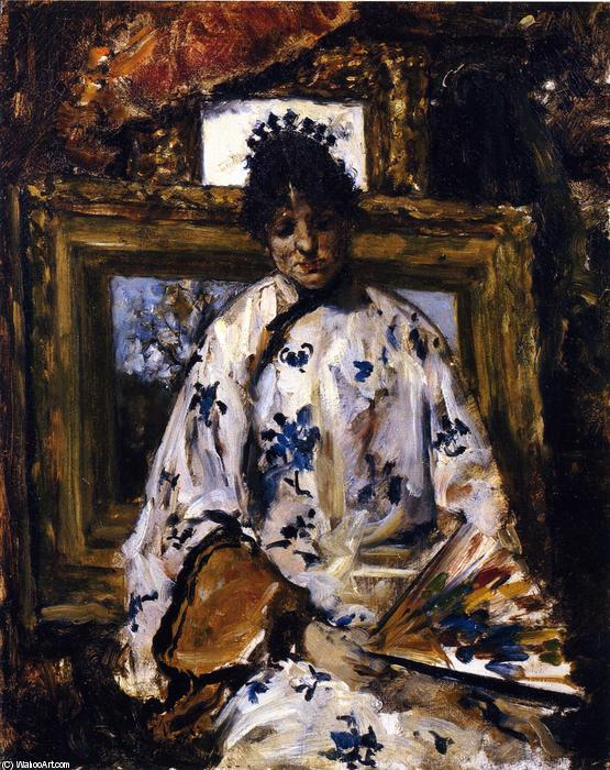 famous painting Woman in a Chinese Robe of William Merritt Chase