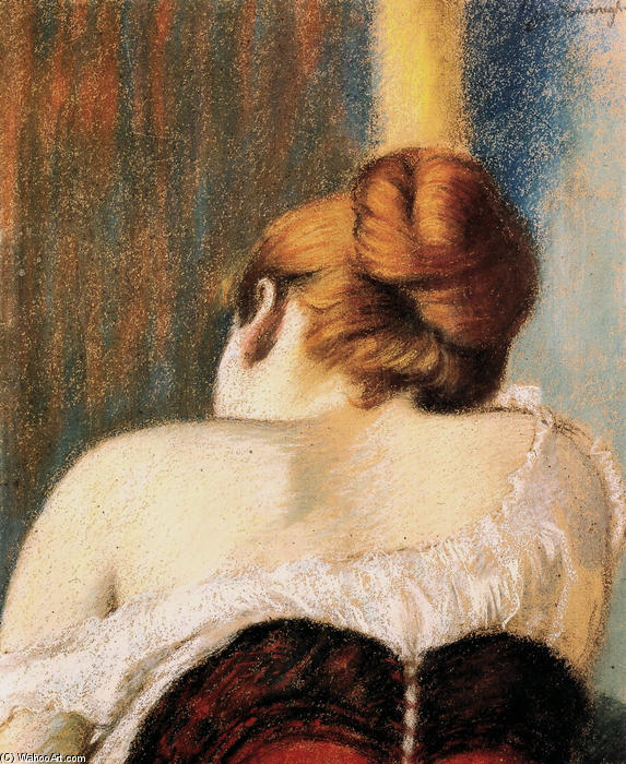 famous painting Woman in corset of Federico Zandomeneghi