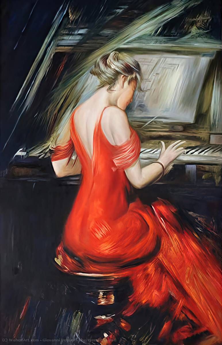 famous painting The Woman in Red of Giovanni Boldini