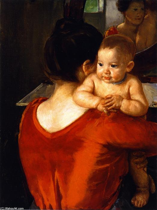 famous painting Woman in a Red Bodice and Her Child of Mary Stevenson Cassatt