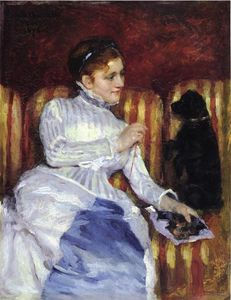 Mary Stevenson Cassatt - Woman on a Striped with a Dog (also known as Young Woman on a Striped Sofa with Her Dog)