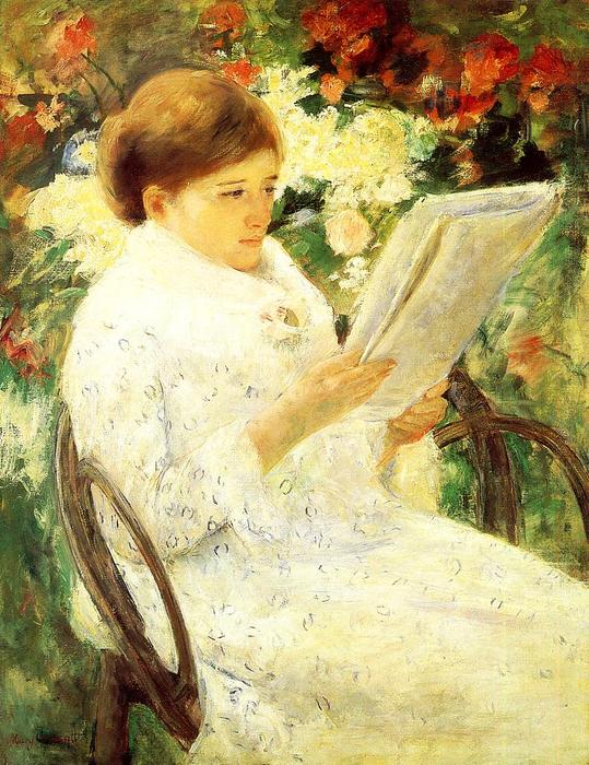 famous painting Woman Reading in a Garden of Mary Stevenson Cassatt