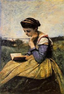 Jean Baptiste Camille Corot - Woman Reading in a Landscape