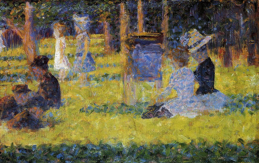famous painting Woman Seated and Baby Carriage of Georges Pierre Seurat